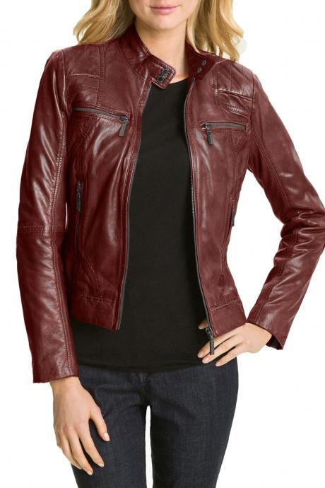 New Hollywood Collection Soft Leather Biker Jacket For Women