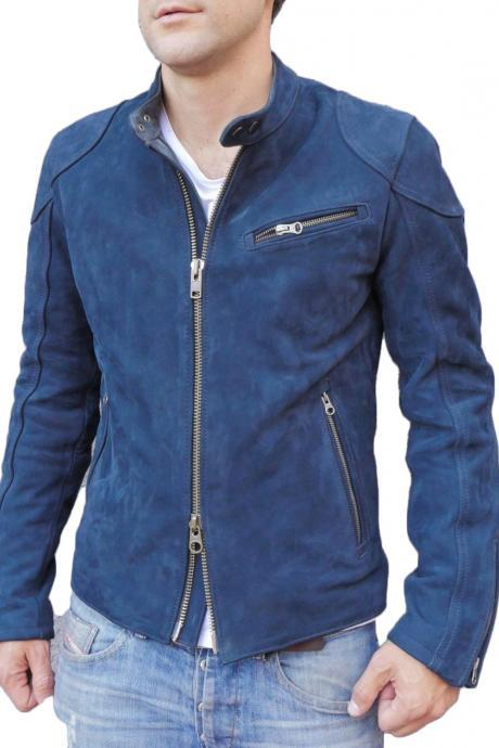 Designer Motorcycle Fashion Suede Leather Jacket For Stylish Looking Men's