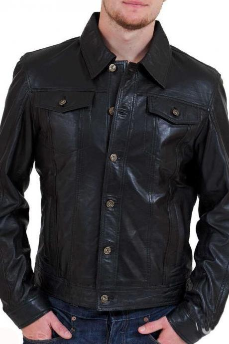 New Leather Motorcycle Shirt Jacket Black Slim Fit Biker Men's