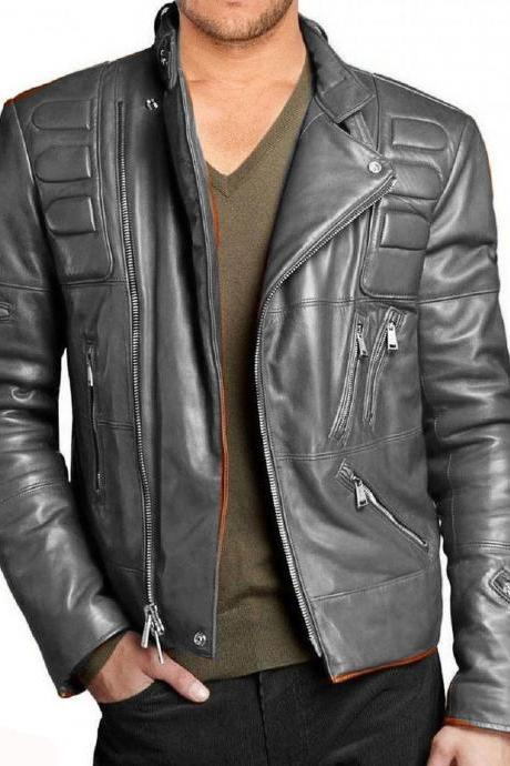 New Men Leather Jacket Black New Slim fit Biker genuine jacket