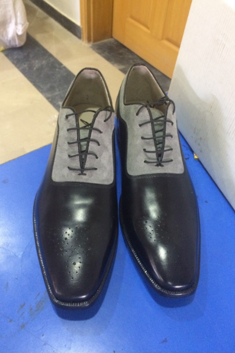 New Handmade Mens forms shoes, Men two tone dress shoes, Men suede and leather
