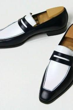 New Handmade Mens Leather Shoes, Men Black And White Color Real Leather Moccasins