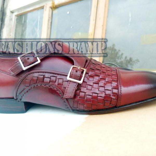 Handmade Double Monk Wavy Leather Shoes For Men, Leather Dress Burgundy Leather Shoes Men