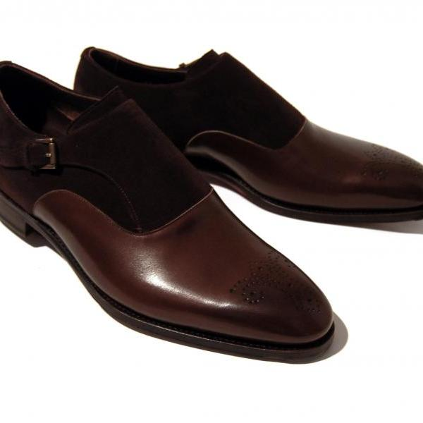 Handmade Single Monk leather Suede Shoes dress Formal shoes 2017