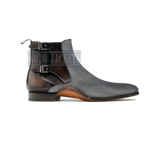 Handmade Brown Antique Chelsea Gray Suede Leather Boots, Ankle High Buckle Boot