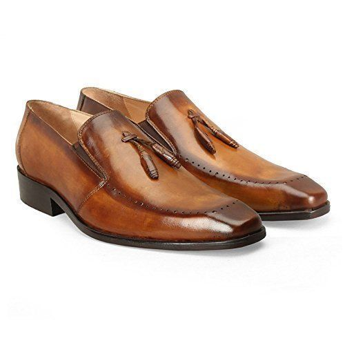 Handmade Tan Genuine Office Business Dress Leather Formal Loafer Tassel Men
