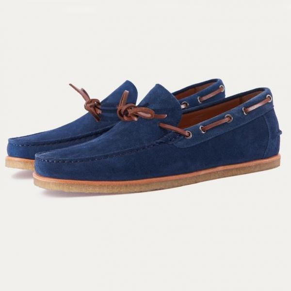 Handmade Moccasin Blue Suede Dress Formal Casual Leather Shoes