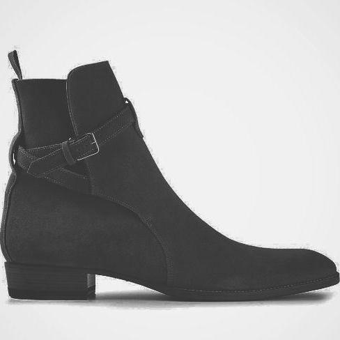 New Handmade Men Black Jodhpur Style Suede Formal Boots