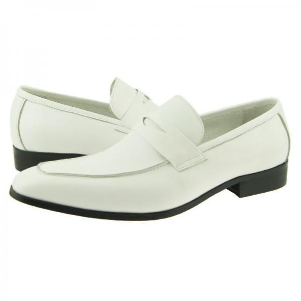 New Handmade Men White leather Moccasins Formal Shoes