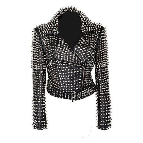New Handmade Women Black Punk Silver Studded Riding Cow hide Leather Jacket