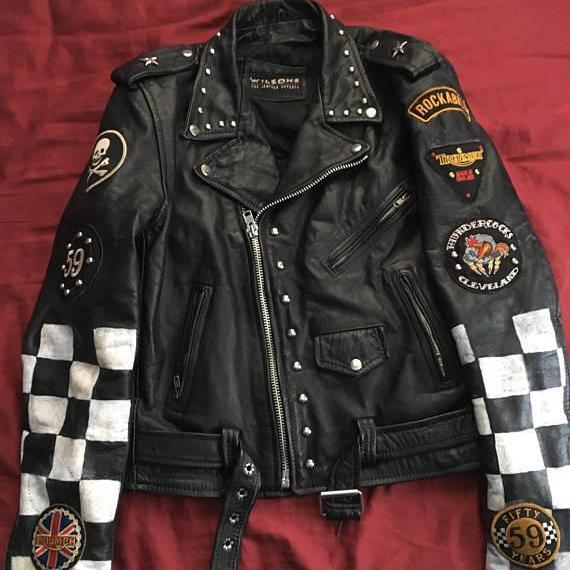 Handmade Mens Leather Triumph Patches Badges Jacket England Flag Studs Jacket
