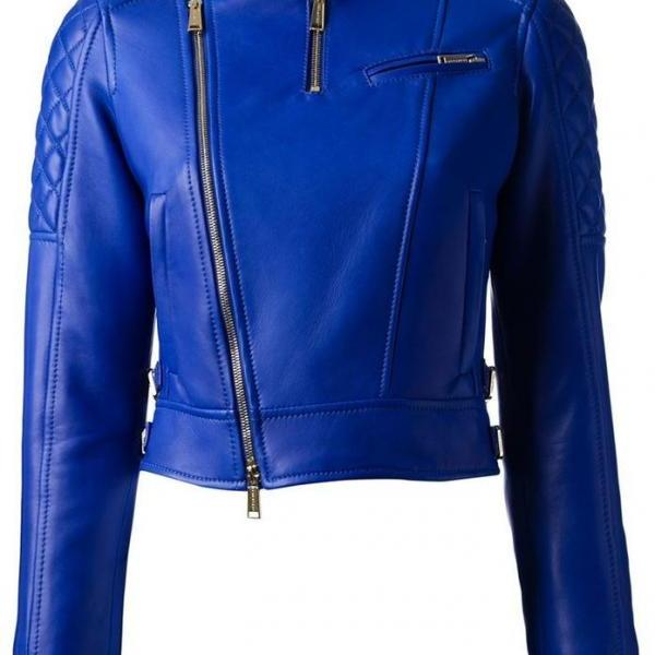 New Customized Handmade Womens Blue Leather Jacket