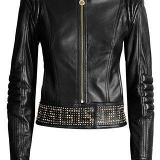 Handmade Men Versace Woman Half Silver, Golden Studded Brando Style Leather Jacket