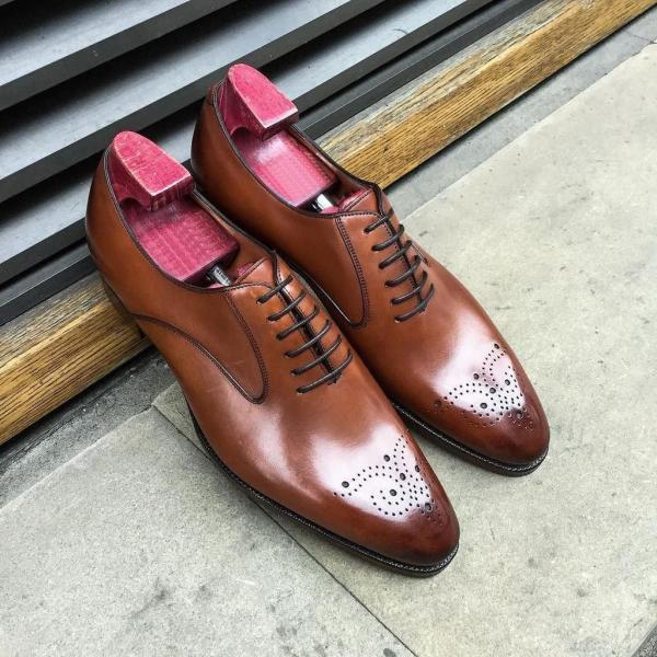 Mens Brown color brogue shoes,Handmade Oxford formal shoes, Men dress shoes