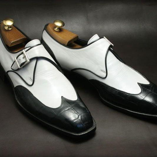 Handmade Alligator Texture Toe Shoe, Monk Leather Shoes, Black White Monk shoes