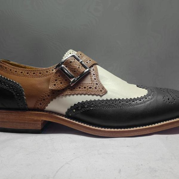 Handmade Men's Multicolor Leather Shoes, Men's Black Brown And White Monk Shoes
