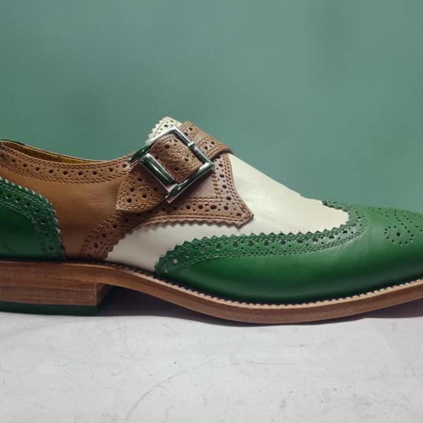 Handmade Men's Multicolor Leather Shoes, Men's Green Brown And White Monk Shoes