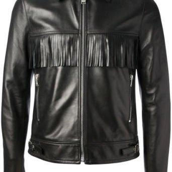 Black Front Back Western Style Fringes Handmade Vintage Leather Jacket for Men's