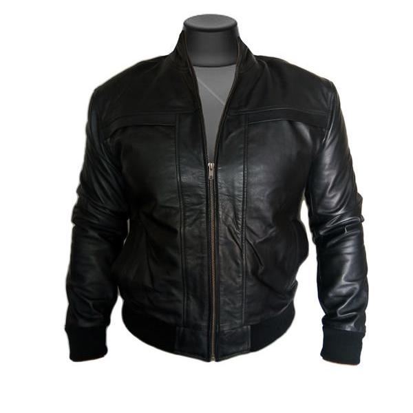Men Slim fit Bomber Black Fashion Leather Jacket