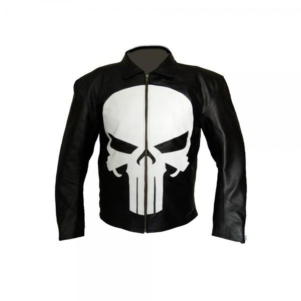 Punisher Skull Men Slim fit Black Fashion Leather Jacket