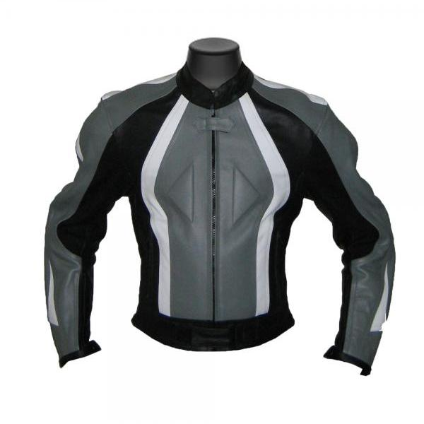 Men Black Gray Armored Motorbike Leather Jacket