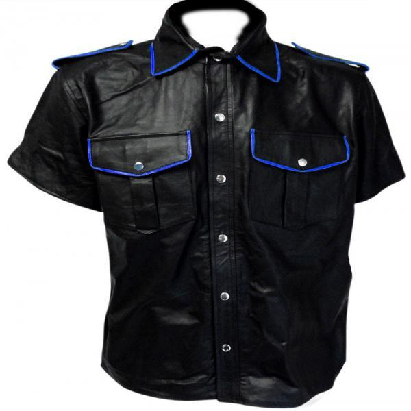 Men Black Leather Shirt, Men Flap Pocket Leather Shirt For Men