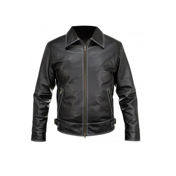 Men Vintage Black White Stitch Leather Jacket, Men's Leather Jacket