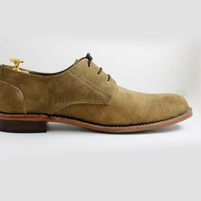 Handmade Olive green Suede Leather Sole Chukka Boots Men