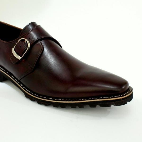 HAND MADE SINGLE MONK STRAP LEATHER LACE-UP BOOTS, FORMAL MENS LEATHER BOOT