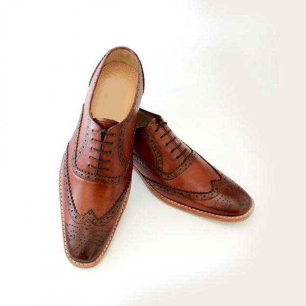 Hand made Derby Oxford Brogue Style Leather Party Shoes Boots