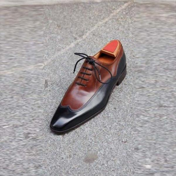 Handmade Men Brown Black Two Tone Formal Shoes, Men Dress Formal Shoes