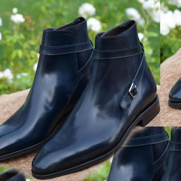 New Men's Handmade Jodhpurs Navy Blue Boots, Lace Up Jodhpurs Dress Formal Boots