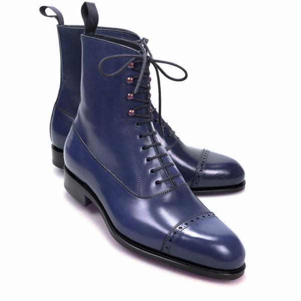 New Handmade Ankle High Boots Navy Lace Up Cap toe Leather Boots Party Boot Men's