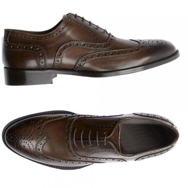 New Handmade Brown Wingtips Leather Shoes, Men's Derby Wedding Shoes Party Shoes
