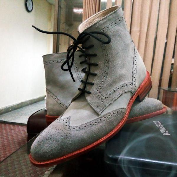 New Handmade Custom Men Ankle High Gray Brogue Suede Leather Boot, Suede Formal Boot