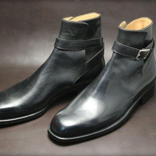New Handmade black jodhpur boots, buckle boot for men, men leather boots, dress