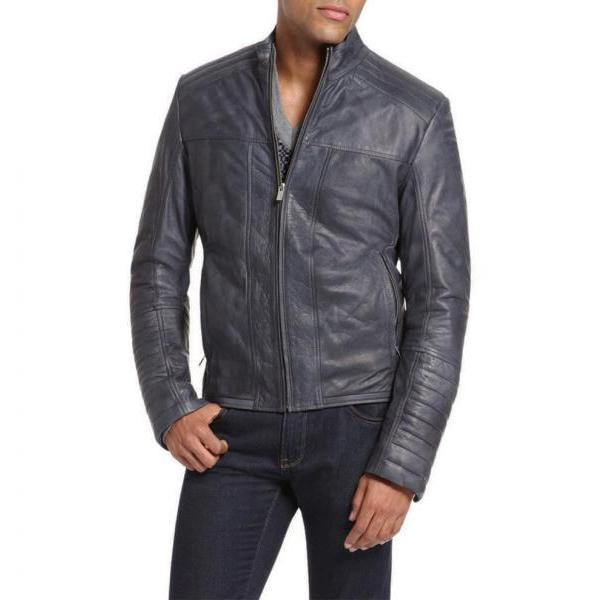 Handmade Dashing Lambskin Motorcycle Fashion Leather Jacket For Men