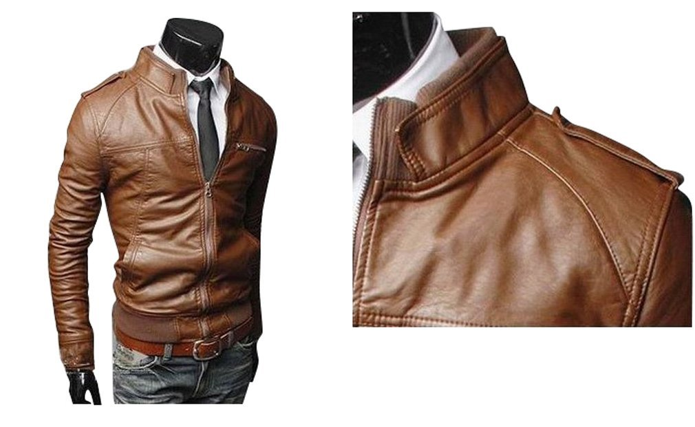 Men Brown Bomber Slim Fit Leather Jacket Mens Leather Jacket on