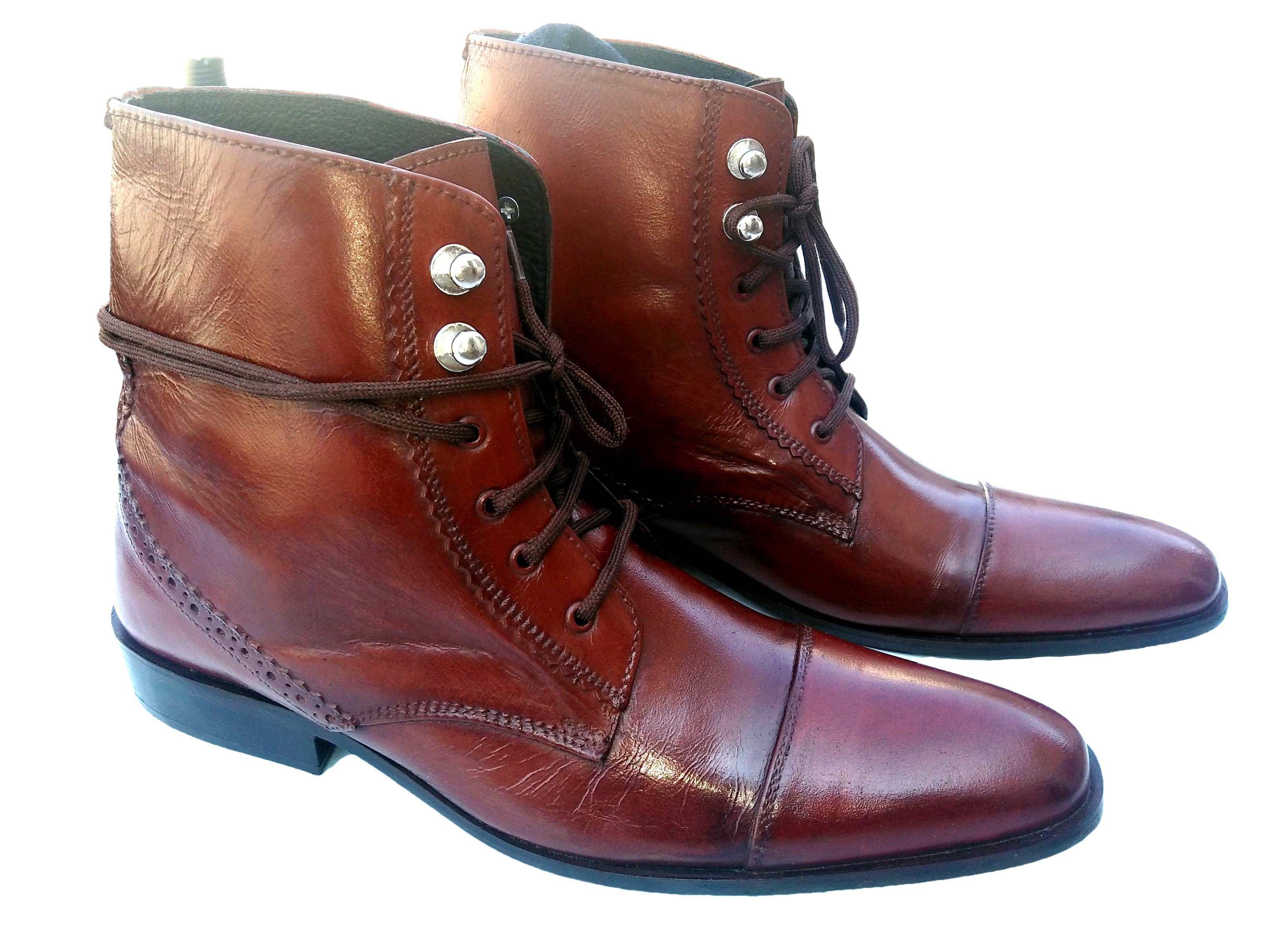 handmade s brown leather lace up boots ankle high